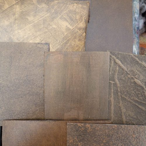 Faux Bronze Samples In Specialist Decorator's Studio
