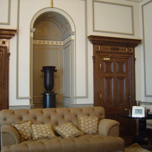 Faux Bois Or Wood Grained Doors With Gilded Detailing, Mayfair, London.