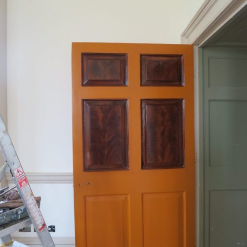 Faux Mahogany Wood Grained Doors, In Progress, King's Observatory, Kew