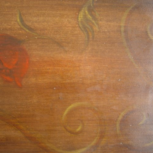 Cabinet Detail Showing Faux Bois With Hand Painted Decoration