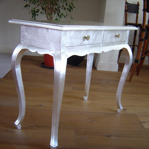 Desk Gilded With Silver Leaf
