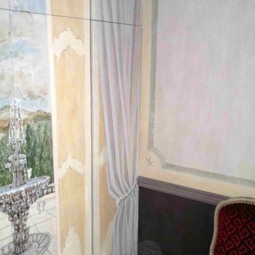 Trompe L'oeil Italianate Scene Painted To Disguise Folding Doors