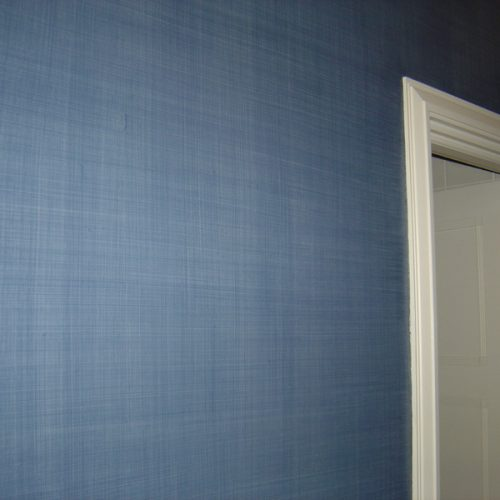Blue Linen Effect Specialist Paint Finish, London