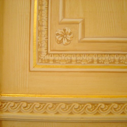 Trompe L'oeil Mouldings On Faux Bois With Gilded Coach Lines