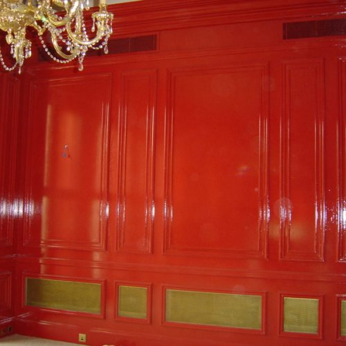 Faux Chinese Red Lacquer Panels, Princess Gate, London