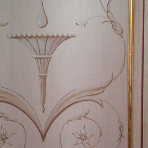Hand Painted Neoclassical Motif On Wardrobe With Gilded Beading