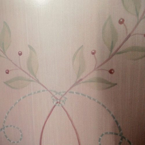 Hand Painted Detail On Wardrobe Showing Olive Leaf On Strie Background