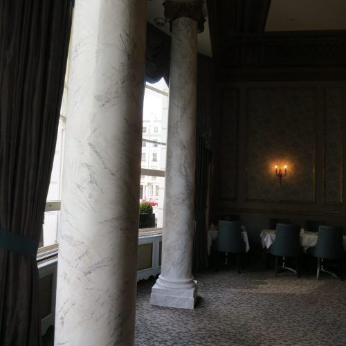 Marbled Columns At Hotel In Queens Gate, London