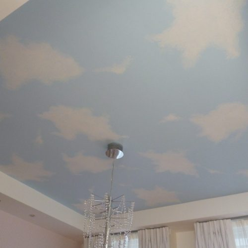 Painted Ceiling With Sky And Clouds