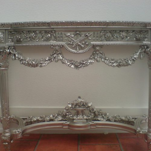 White Gold Leaf Applied To Antique Console