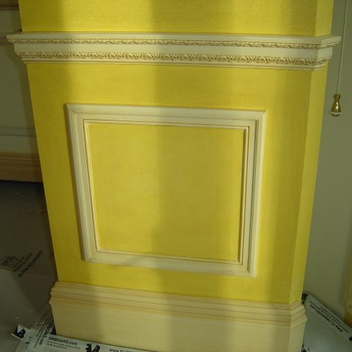 18th Century Style Acid Yellow Painted Glaze Work On Dado