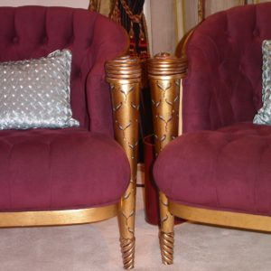 Gilded Chair Frames With Hand Painted Motifs