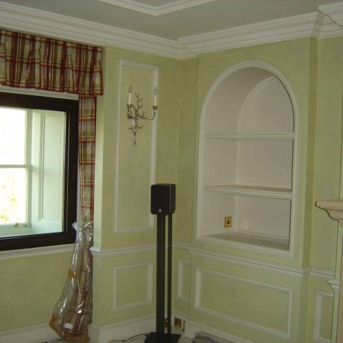Fresco Finish In Panelled Room In Soft Green