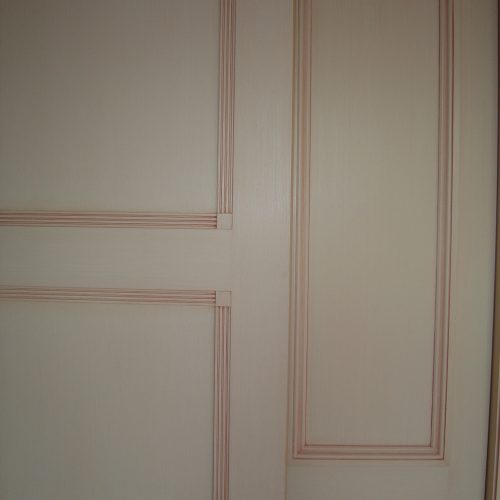 Traditional Painted Glaze Work On Doors In Soft Pink