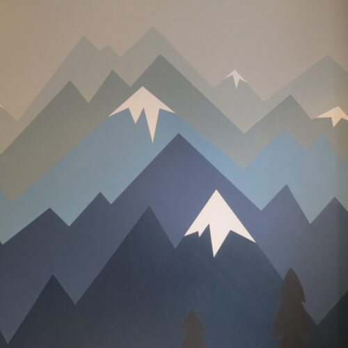 Mural Painting Of Alpine Scene For Boy's Bedroom
