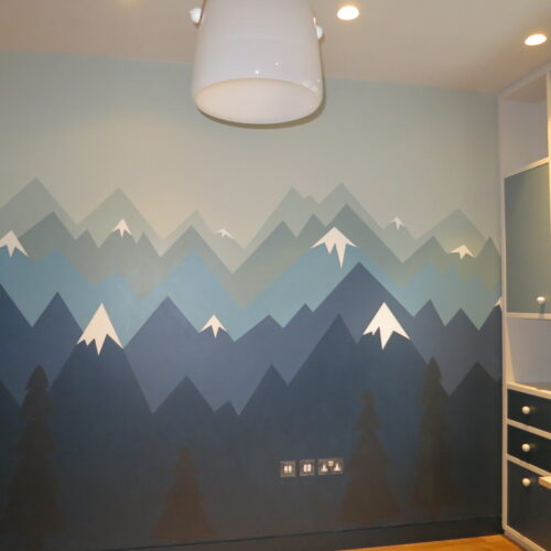 Wall Painting Of Mountain Landscape